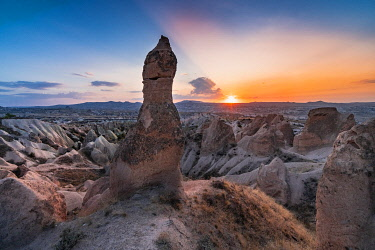 CLKGM127828 Sunsetscape from tuff rock formations in Red valley.Goreme, Capadocia, Kaisery district, Anatolia, Turkey.