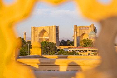 CLKGM128343 Close up of Bibi Khanum mosque buildings from Hazrat Hizr mosque at sunrise. Samarkand, Uzbekistan, Central Asia.