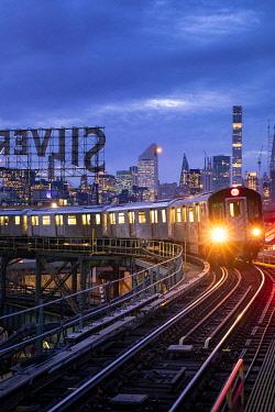 CLKST124368 View of Manhattan from Queens train station, Manhattan, New York City, USA