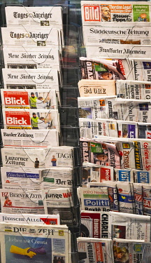 IBLPKP05134518 Many different international, daily newspapers in stand for sale, Zurich, Switzerland, Europe