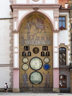 IBLYUC05188957 Astronomical clock at the city hall, Olomouc, North Moravia, Czech Republic, Europe