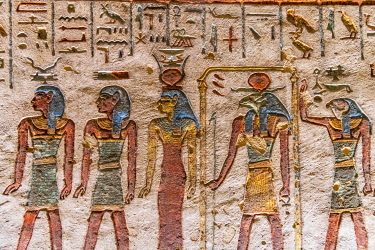 EGY1784AWRF Valley of the Kings, burial chamber decorated with bas-relief in the tomb of Ramses IX, Nile Valley, Luxor, Egypt