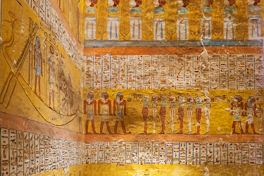 EGY1684AW Valley of the Kings, burial chamber decorated with bas-relief in the tomb of Ramses IX, Nile Valley, Luxor, Egypt