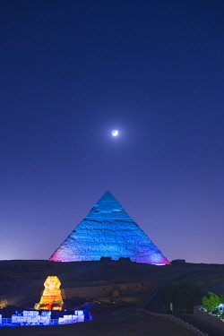EGY1743AW light show over the Pyramids of Giza, Giza, Cairo, Egypt