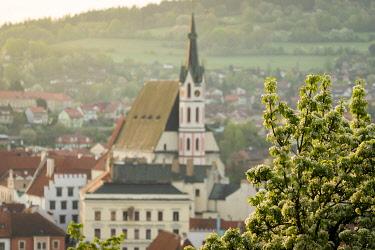 CZE2148AW St. Vitus Church in spring, Cesky Krumlov, South Bohemian Region, Czech Republic