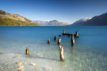 NZ10079AW Worn and broken old jetty on Lake Wakatipu. Glenorchy, Otago, South Island, New Zealand