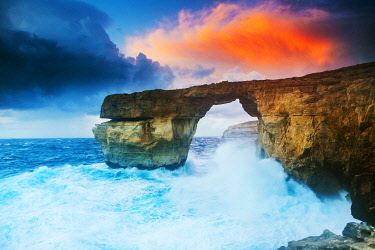 MLT0747 Maltese Islands. Gozo. The Azure Window in a storm few months before it collapsed and vanished.