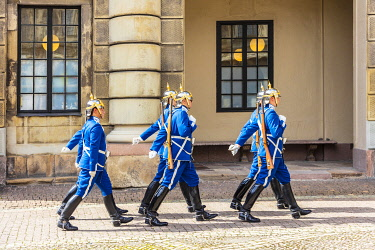 SWE4406 Europe. Sweden. Stockholm. The Royal Guards in Gamla Stan, the historic centre of Stockholm.