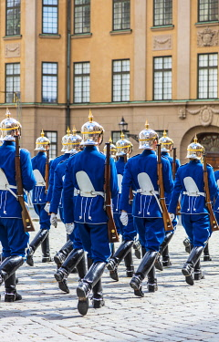 SWE4407 Europe. Sweden. Stockholm. The Royal Guards in Gamla Stan, the historic centre of Stockholm.