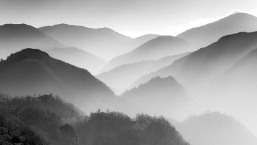 ENG16869AW England, Cumbria, Keswick. Looking down Borrowdale Valley in hazy conditions.