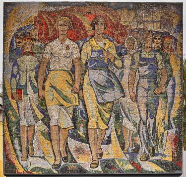 RU04606 Soviet modernist mosaic, 1970s, Vichuga, Ivanovo region, Russia
