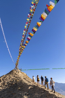IND8597 India, Indus Valley, Leh, Namgyal Tsemo Gompa Prayer flags