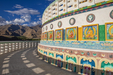 IND8600 India, Indus Valley, Leh, Shanti Stupa built in 1991 by Japanese Buddhist Bhikshu, Gyomyo Nakamura and part of the Peace Pagoda mission.