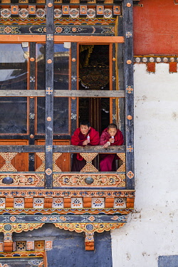 BHU1903AW Novice Monks (Child monks) in Gangteng Monastery, Phobjikha Valley, Bhutan