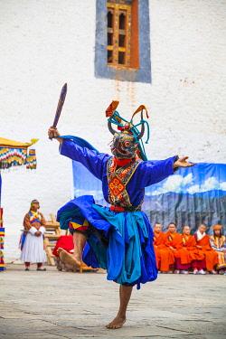 BHU1969AW Punakha Tshechu (otherwise known as Punakha Festival), Punakha Dzong, Punakha, Punakha District, Bhutan