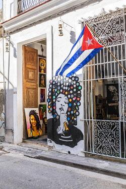 CUB2312AW A music store in La Habana Vieja (Old Town), Havana, Cuba