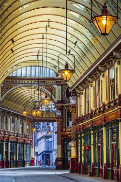 United Kingdom, England, London, City of London, the interior of Leadenhall Market, a Victorian market designed by Horace Jones