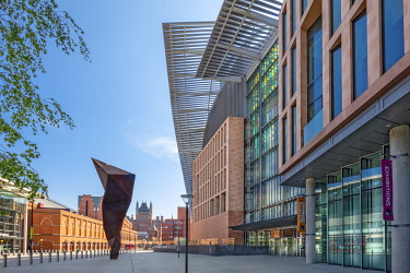 United Kingdom, England, London, King's Cross. The Francis Crick Institute - biomedical research centre in London, with St. Pancras railway station in the rear of shot