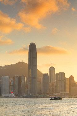 CH12440AWRF Hong Kong Island skyline and Star Ferry at sunset, Hong Kong