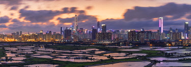 Skyline of Shenzhen from Sheung Shui at sunset, New Territories, Hong Kong