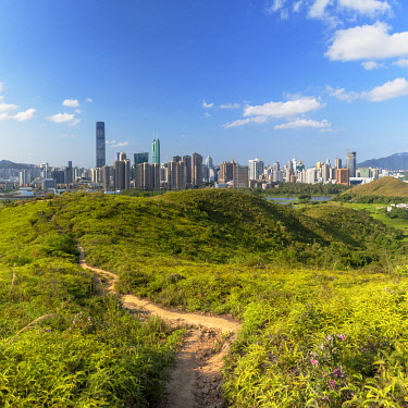 CH12428AW Skyline of Shenzhen from Sheung Shui, New Territories, Hong Kong