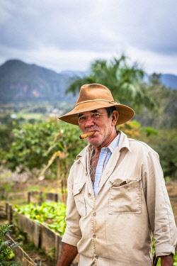 CUB2558AW A farmer smoking a cigar in Vinales Valley, Pinar del Rio Province, Cuba
