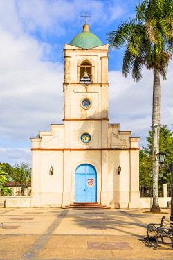 CUB2552AW Iglesia del Sagrado Corazon de Jesus (otherwise known as Vinales Church) in Plaza Mayor or Jose Marti Park, Vinales Town, Pinar del Rio Province, Cuba