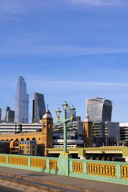 ENG17078AWRF Soutwark Bridge and the city skyline, London, England, UK