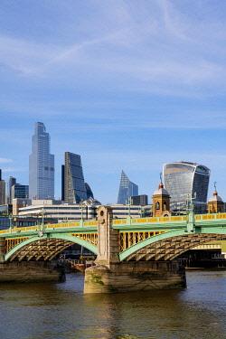 ENG17080AWRF Soutwark Bridge and the city skyline, London, England, UK