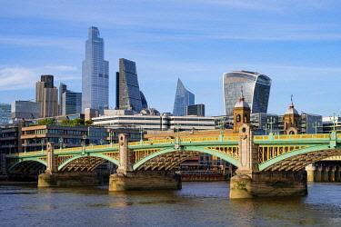 ENG17081AWRF Soutwark Bridge and the city skyline, London, England, UK