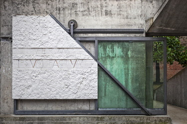 ITA15534 Architectural detail of the Entrance to the Architectural faculty of Venice University by the architect Carlo Scarpa, Dorsoduro District, Venice, Veneto, Italy