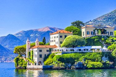 ITA15539 The Villa del Balbianello Museum and the Tomba di Guido Monzino on the shores of Lake Como, Como, Lombardy, Italy.