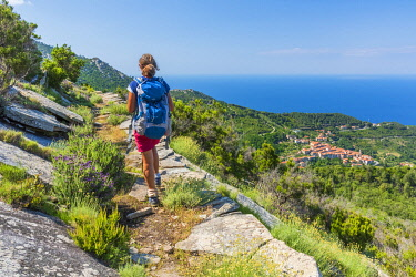 ITA15566AW europe, Italy, Tuscany, Elba Island, woman hiking the GTE hiking trail, with view towards Marciana