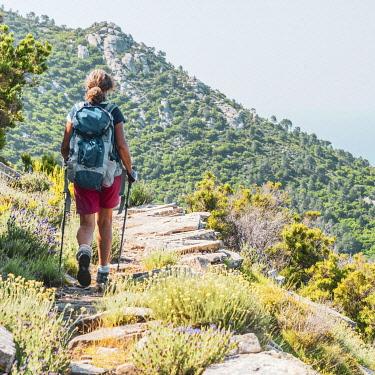 ITA15567AW europe, Italy, Tuscany, Elba Island, woman hiking the GTE hiking trail