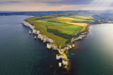 ENG17271AWRF Aerial view of Old Harry Rocks, Jurassic coast, Swanage, Isle of Purbeck, Dorset, England, UK