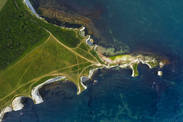 ENG17266AW Aerial view of Old Harry Rocks, Jurassic coast, Swanage, Isle of Purbeck, Dorset, England, UK