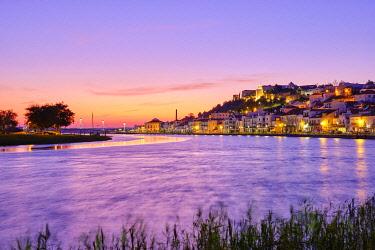 POR10950AW Alcacer do Sal and Sado river at dusk. Alentejo, Portugal
