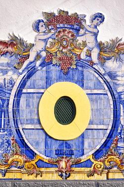 POR10965AW Ceramic tiles (azulejos) in the house of Jose Maria da Fonseca, the famous wine producer since 1834, at Vila Nogueira de Azeitao. Setubal, Portugal