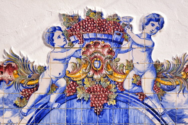 POR10966AW Ceramic tiles (azulejos) in the house of Jose Maria da Fonseca, the famous wine producer since 1834, at Vila Nogueira de Azeitao. Setubal, Portugal