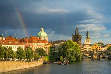 CZE2334AWRF Rainbow by Charles bridge in spring, Prague, Bohemia, Czech Republic