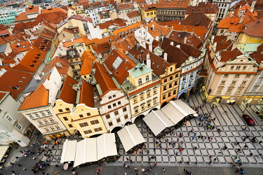 CZE2353AWRF Elevated view of houses with red roofs as seen from Prague Astronomical Clock at Old Town Square, Prague, Bohemia, Czech Republic