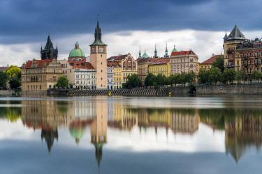 CZE2274AW Reflection of Bedrich Smetana Museum and Old Town Waterworks at Smetanovo nabrezi, Prague, Bohemia, Czech Republic