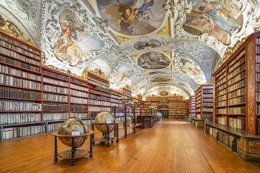 CZE2299AW Theological hall of Strahov library in Strahov Monastery, Prague, Bohemia, Czech Republic