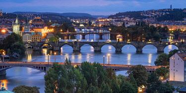 CZE2301AW Bridges over Vltava river against sky seen from Letna park at night, Prague, Bohemia, Czech Republic