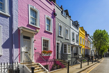 TPX73660 England, London, Westminster, Kensington and Chelsea, Colourful Residential Houses in Bywater Street