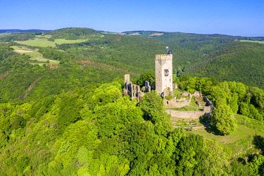 GER12098AW Aerial view on Olbruck castle, Eifel, Rhineland-Palatinate, Germany