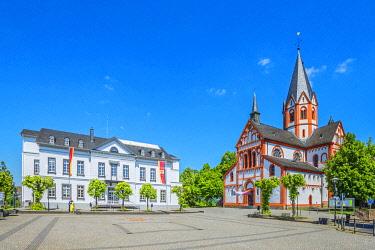 GER12103AW Church St. Peter with city hall, Sinzig, Rhine valley, Eifel, Rhineland-Palatinate, Germany