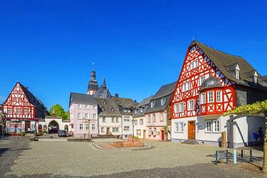 GER12132AW Historical market place of Kirchberg, Hunsruck, Rhineland-Palatinate, Germany