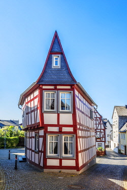 GER12135AW Half-timbered house at Kirchberg, Hunsruck, Rhineland-Palatinate, Germany
