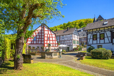 GER12140AW Half-timbered houses  at Herrstein, Hunsruck, Rhineland-Palatinate, Germany